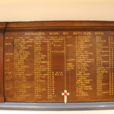 Hitchin. In the Town Hall. Honours awarded to Hitchin men in the 1st World War. Brand St, SG5 1JE | Eric Riddle