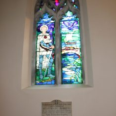Preston. Inside Church. Stained Glass Window of Julian Royds Gribble VC. SG4 7TP   Eric Riddle