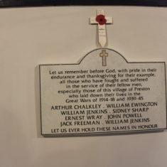 Preston. Inside Church. Plaque on wall. SG4 7TP   Eric Riddle