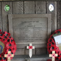 Widford. Opposite St John the Baptist Church, in wooden entrance to graveyard. Ware Rd, Widford. SG10 6DL. | Eric Riddle