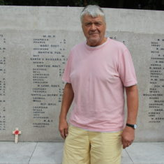 Ware. In front of St Mary's Church, Church Street, SG12 9EG with Eric stood infront of the memorial | Eric Riddle
