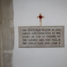 Sandon. Inside All Saints, Rushden Rd, SG9 0QS. Clock placed in Clock Tower dedicated to men of Sandon who fell in the 1st World War. | Eric Riddle