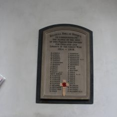 Kelshall. On plaque in Church dedicated to the men who fell in 1st World War | Eric Riddle