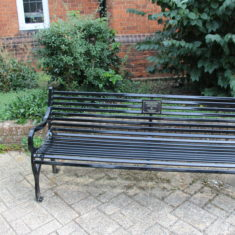 Hertford. Old Cross outside the Old Library SG14 1RB. A bench in Remembrance of the men of the Hertfordshire Regiment who lost their lives in World War 1. | Eric Riddle