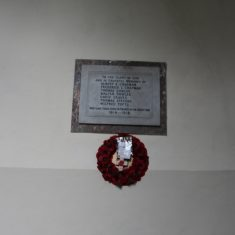 Rushden. Inside St Mary's, Church End, SG9 0SG. Plaque on wall. Names of men who were killed in France. | Eric Riddle