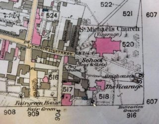 Detail from the 1879 OS map showing the location of the parish almshouse. The church seems to be incorrectly named. The later Mann almshouse was built on the site of the school. | Ordnance Survey, courtesy of Hertfordshire Archives and Local Studies