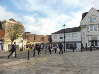 The south east corner of Market Place looking from the Corn Exchange. The original almshouse was in this area. 2019 | Colin Wilson