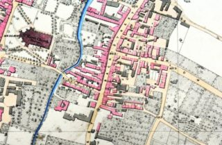 Detail from the OS map 1851, 2ft:1 mile. Biggin Lane (in centre of image) later followed the course of the river southwards. The later almshouse is situated just below the W of Hollow Lane. Note that on this map the Warner and Biggin almshouses are not named. | OS map 24