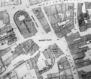 Bishops Stortford Market Place. Pilston's almshouse was probably somewhere to the east of the Plume of Feathers | OS 1:500 map 1880. Courtesy of Hertfordshire Archives and Local Studies