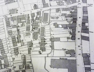 The site of Pilston's almshouse as annotated in the centre of this image. Newtown Road is across the top, while South Street runs north-south on the right. | OS map 1901. Courtesy of Hertfordshire Archives and Local Studies.