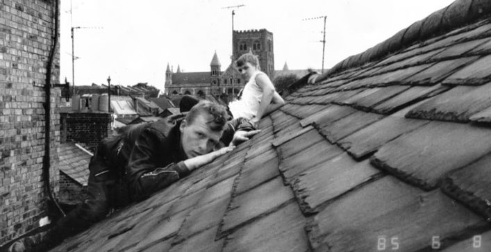 Sam and Dave (1985) Lower Dagnall Street roof, checking out the Cathedral.