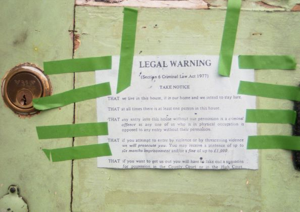 Legal warning notice (1986) This legal warning had to be fixed to all externals doors to stop eviction without a court summons, Lattimore Road.