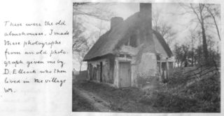 The derelict almshouse, with Minet's note about the photographer | Included in Minet's book. Courtesy of Hertfordshire Archives and Local Studies. Ref DE/X10/Z1