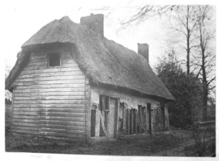 The derelict almshouse | Included in Minet's book. Courtesy of Hertfordshire Archives and Local Studies. Ref DE/X10/Z1