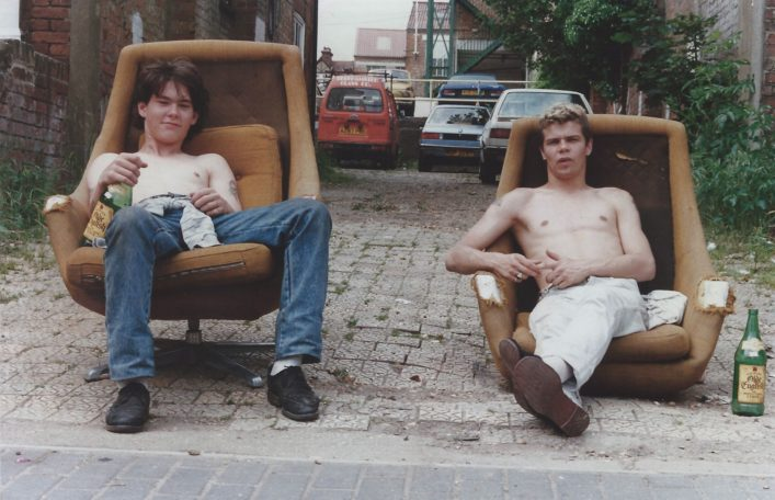 Harry Hood and Miles Rolph (1987) Sitting on the swivel chairs outside Lattimore Road.