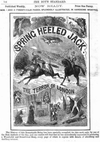 Ad for a Spring Heeled Jack penny dreadful - January 8th, 1886 | Public Domain