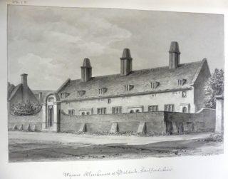 J C Buckler's drawing of Wynne's almshouse. 1831 | Hertfordshire Archives and Local Studies ref DE/Bg/1/11