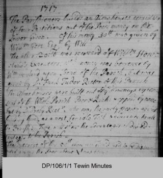 Extract from Tewin vestry minutes for 1717 | Courtesy of Hertfordshire Archives and Local Studies ref DP/106/1/1