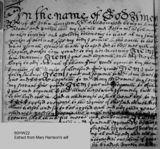Extract from Mary Harrison's will. The reference to the almshouses is on line 14 | Courtesy of Hertfordshire Archives and Local Studies ref 60HW22