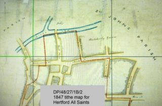 Section from 1847 All Saints tithe map. This illustrates the limited information in some records. | Courtesy of Hertfordshire Archives and Local Studies ref DP/48/27/1B2