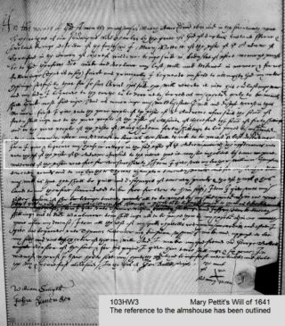 Mary Pettit's will of 1641. The section referring to the almshouse has been outlined. | Courtesy of Hertfordshire Archives and Local Studies ref 103HW3, on microfilm