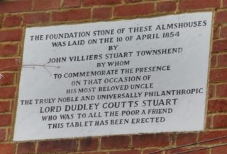 The dedication stone on Townshend's almshouse. 2016 | Colin Wilson