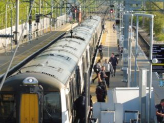 Passengers leaving the 1751 train on Monday 20th April 2020. This would usually be one of the busiest commuter trains | Colin Wilson