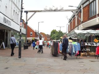 Waltham Cross market looking north from the Eleanor Cross. 17 Jun 2020 | Colin Wilson