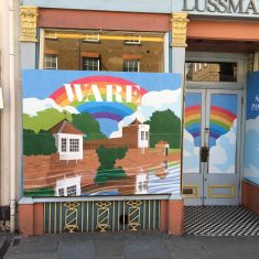 Painted, boarded window and entrance to Lussman's Restaurant, 15th May 2020 | Geoff Cordingley