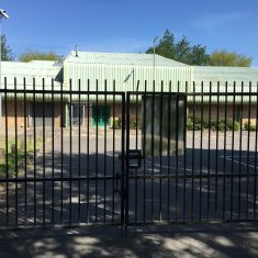 Gated car park entrance to Leisure Centre on Hartham Common, 15th May 2020 | Geoff Cordingley