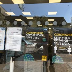Notices on Boots the Chemist shop in Railway Street, 15th May 2020 | Geoff Cordingley