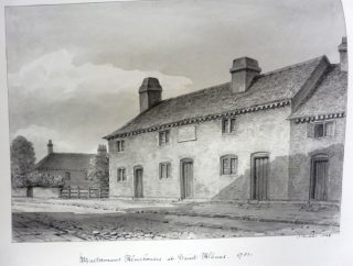 J C Buckler's drawing of Masterman's almshouse, St Albans. Note the Marlborough almshouse in the background. 1838 | Hertfordshire Archives & Local Studies ref DE/Bg/3/137