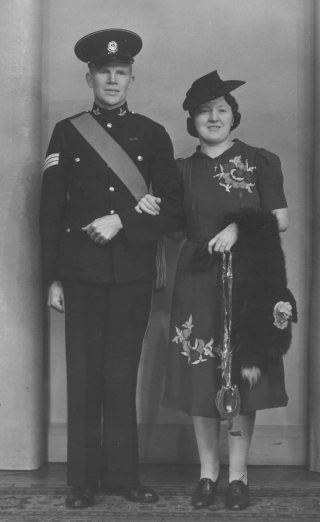 Leonard Frederick Butler on his wedding day 1941 with Mary Agnes Peak