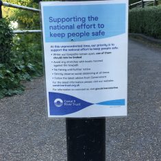 Sign on tow path by canal basin, 15th May 2020 | Geoff Cordingley