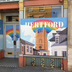 Painted boarded window of Lussman's Restaurant, 15th May 2020 | Geoff Cordingley