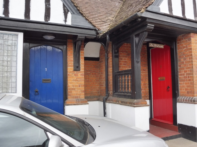 Elstree almshouse 1 and 2 High Street doors. Feb 2017