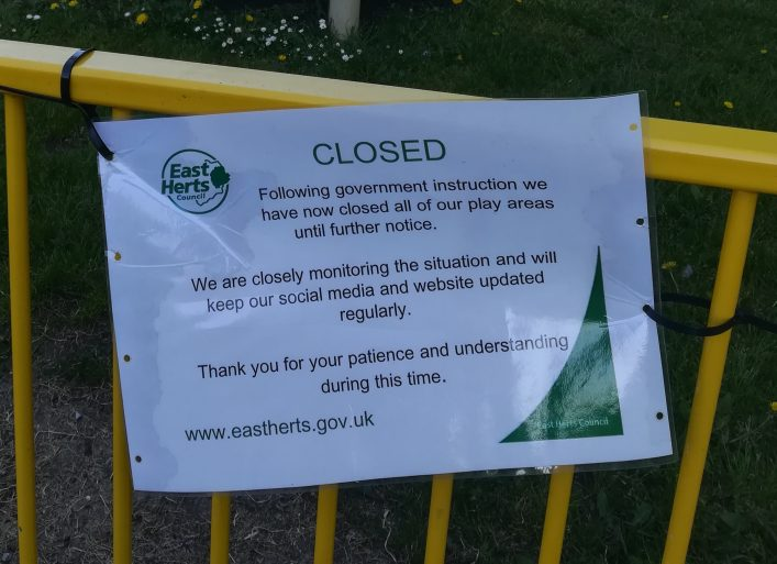 East Herts Notice, playground closure