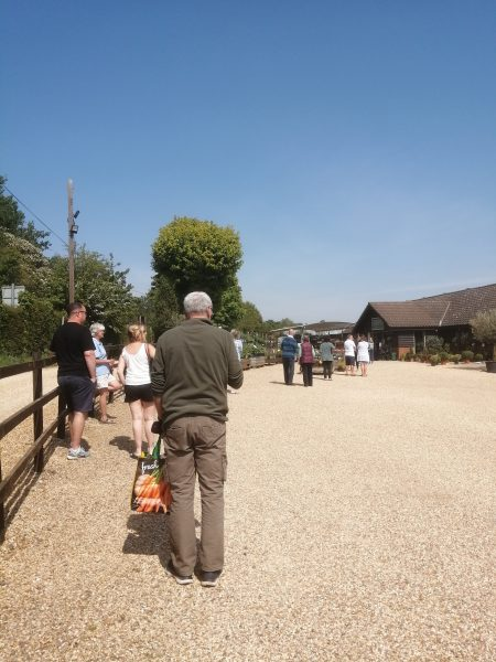 Queuing at Pearce's Farm Shop near Buntingford, May 2020 | Sheila White