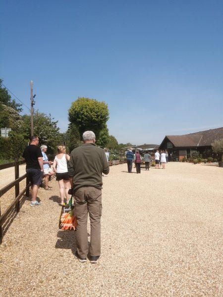 Queuing at Pearce's Farm Shop near Buntingford, May 2020 | Sheila White