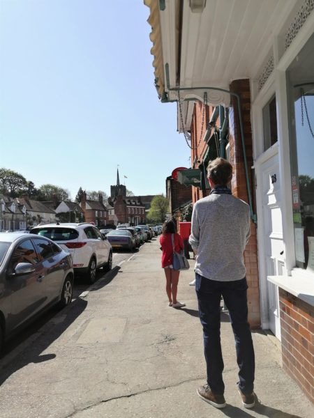 Queuing at Standon Post Office, April 2020 | Sheila White
