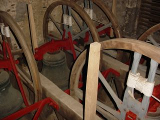 St Peter's Church, Tewin, bells in the down position and silent