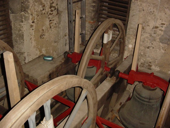 The treble bell and the second ( the old treble prior to  1939) as they are in the bell frame, in the 'down '