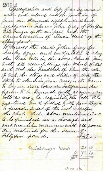 Documentation found within the church records deposited at Hertfordshire Archives and Local Studies, show that in 1887 a