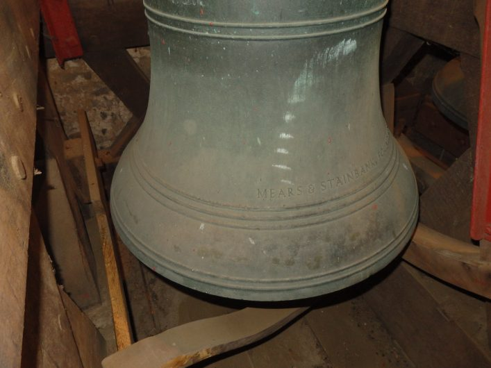 Here you can see the makers name on the Treble bell. Although the treble was fitted in 1939, because of the Second World War, this bell was not rung until 1945.