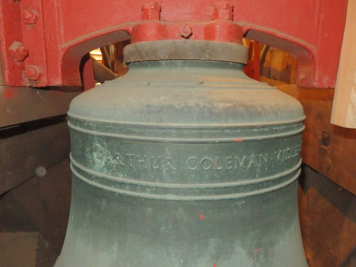 The new treble bell is inscribed Arthur Coleman Vidler, Rector 1912 - 1930