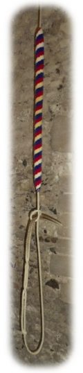 A typical bell rope, the coloured area is known as a sally and is made of wool, the rope below the sally is made of hemp