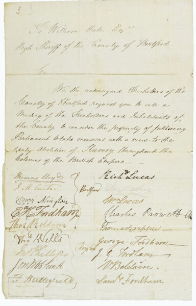 Anti slavery petition from 1830 | HALS (ref 52860)