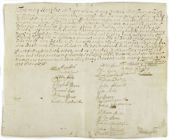 Quaker marriage certificate from 1684 | HALS (ref 66297)