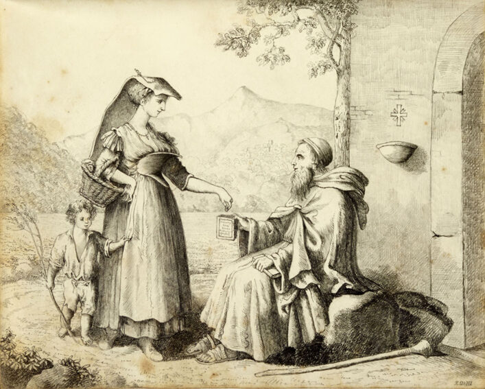 Watercolour of a woman giving alms to the poor | HALS (ref Acc 3133)