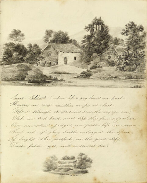 Watercolour of a house with a poem below, called 'sweet solitude' | HALS (ref Acc 3133)